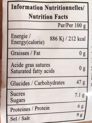 Sweet cured prune - Informations nutritionnelles - fr