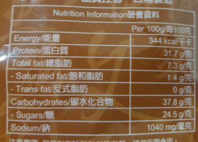 金安記五香牛肉乾 - Nutrition facts