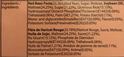Mochi Haricot Rouge 180G - Nutrition facts - en