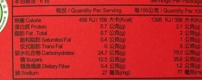 Mochi Haricot Rouge 180G - Informations nutritionnelles - fr