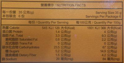 Sesame Mochi - Nutrition facts - fr