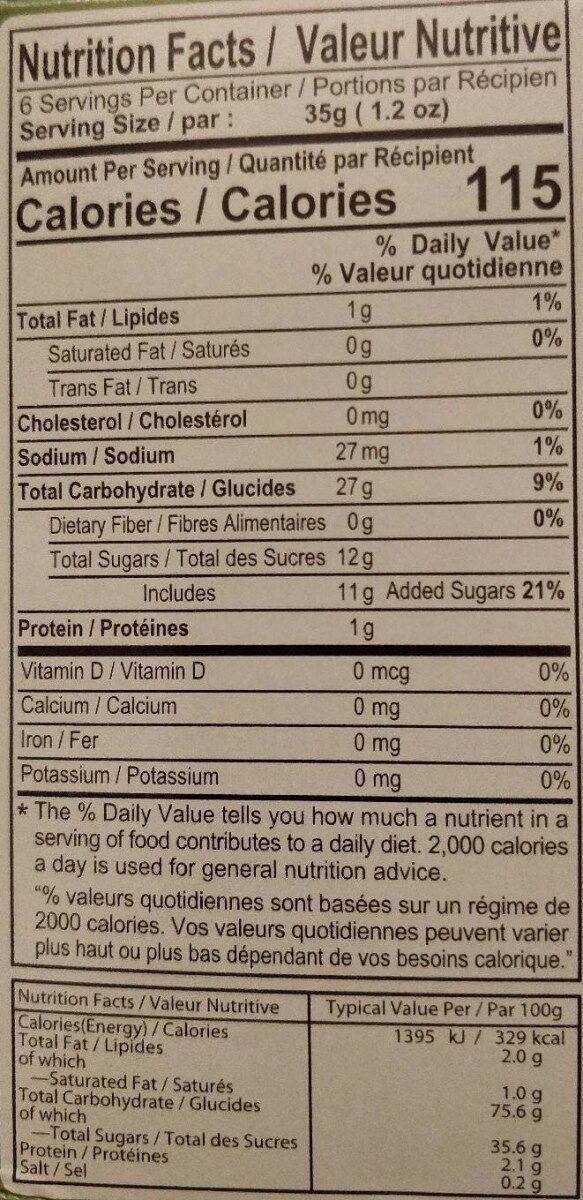 Coconut Pandan Mochi - Nutrition facts - fr