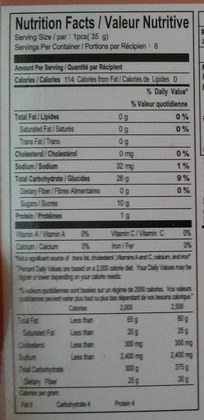 Mochi du Taro - Nutrition facts