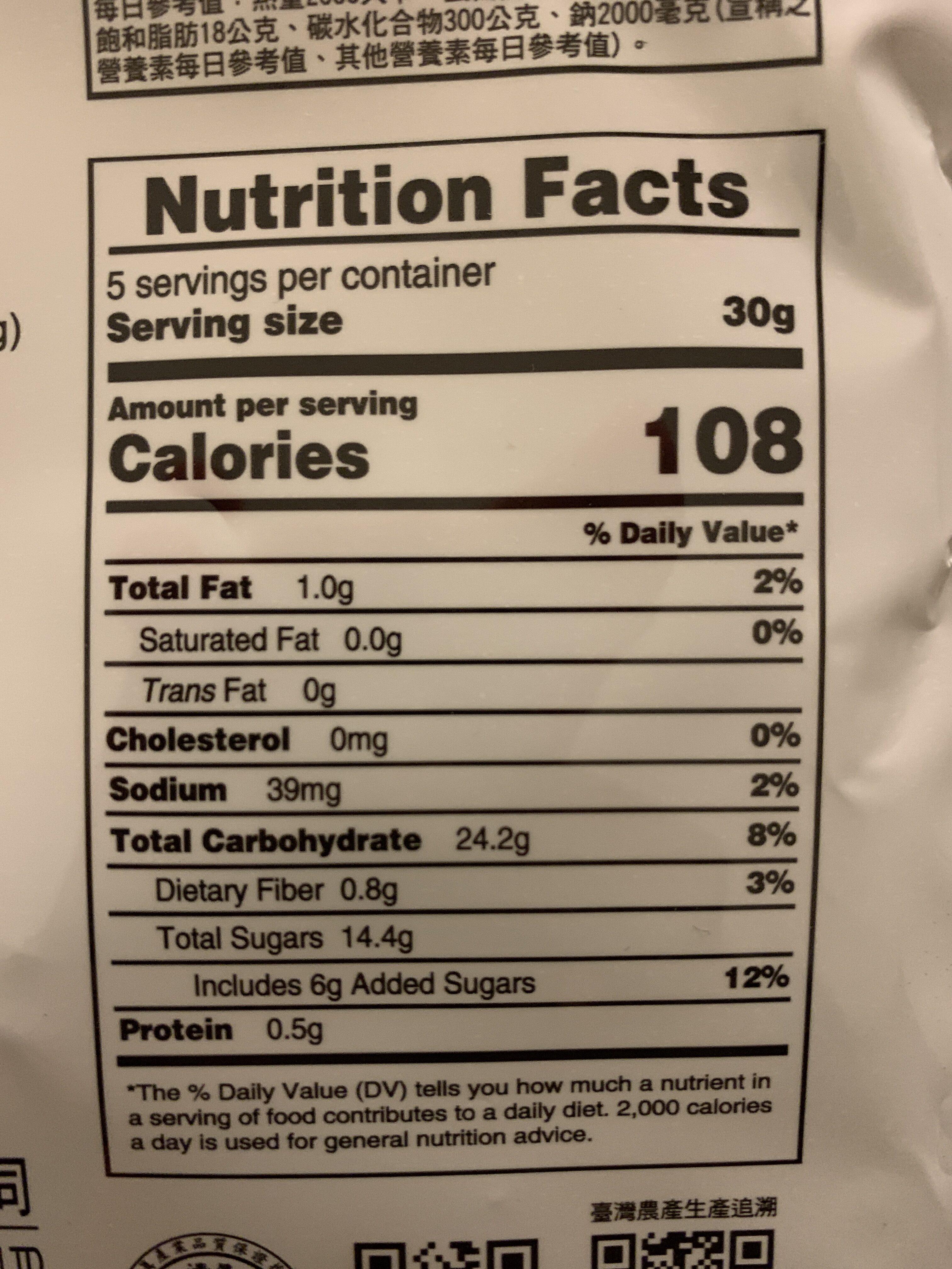 Dried pineapple - Valori nutrizionali - en