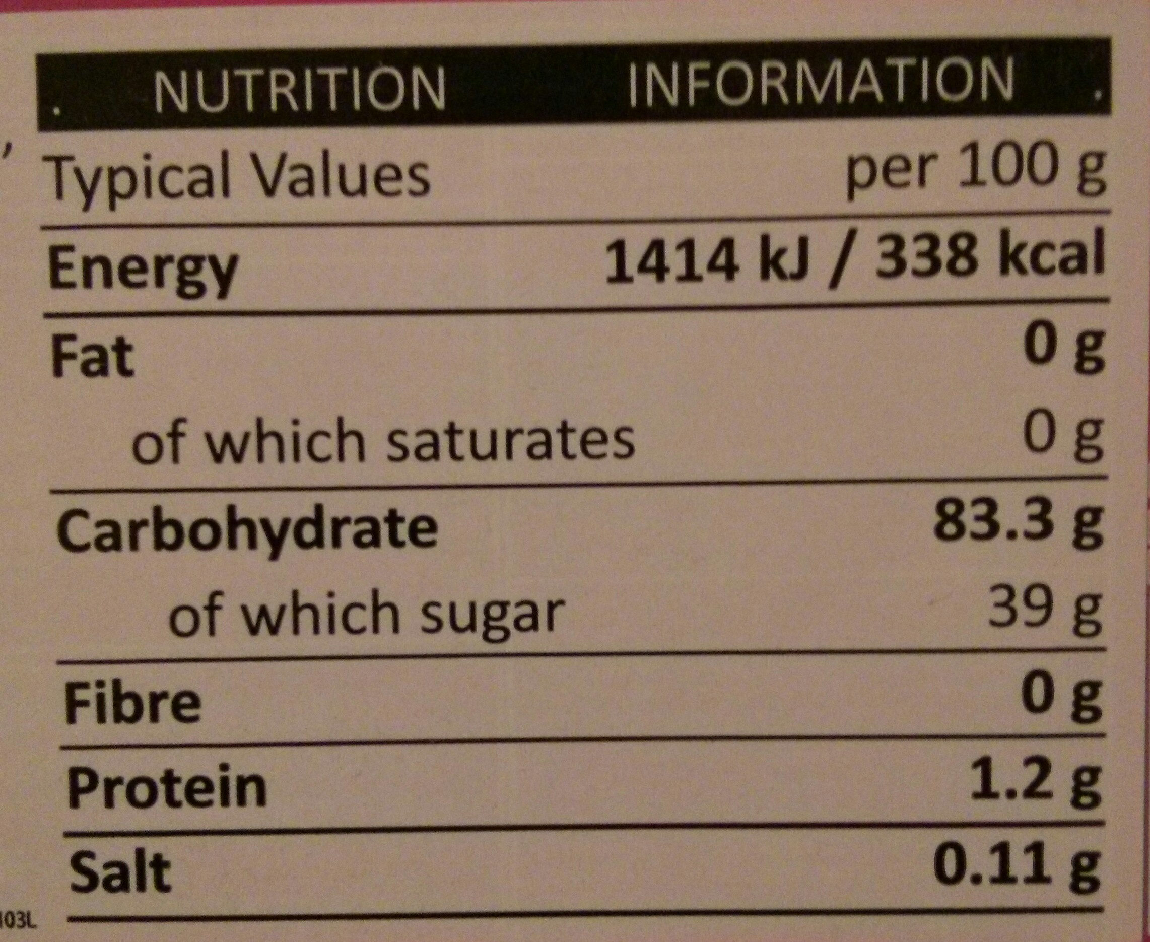 Strawberry Mochi - Nutrition facts