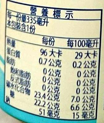 Calpis water - Nutrition facts - en