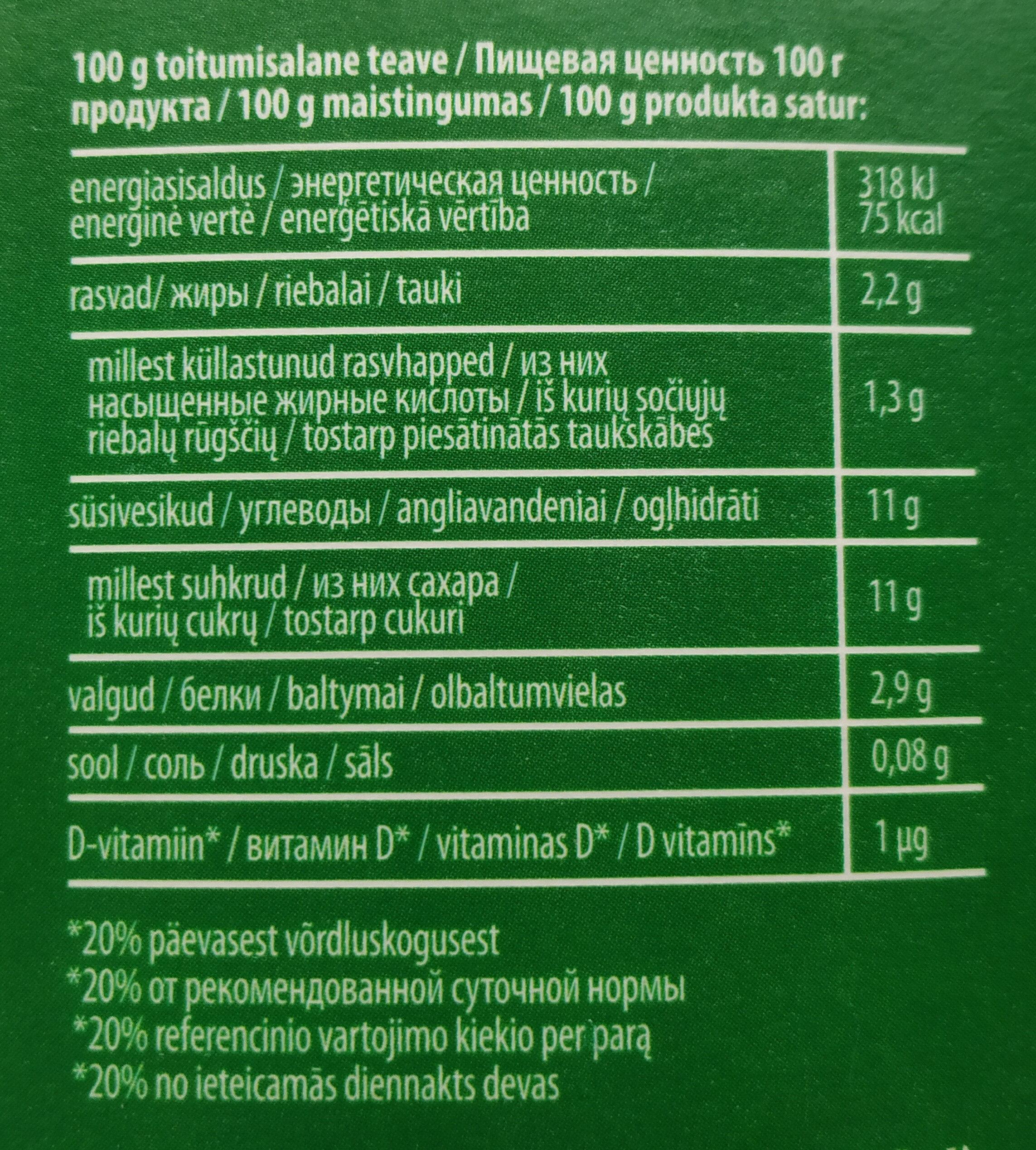 Kefyras su mėlynėmis - Пищевая и энергетическая ценность - lt