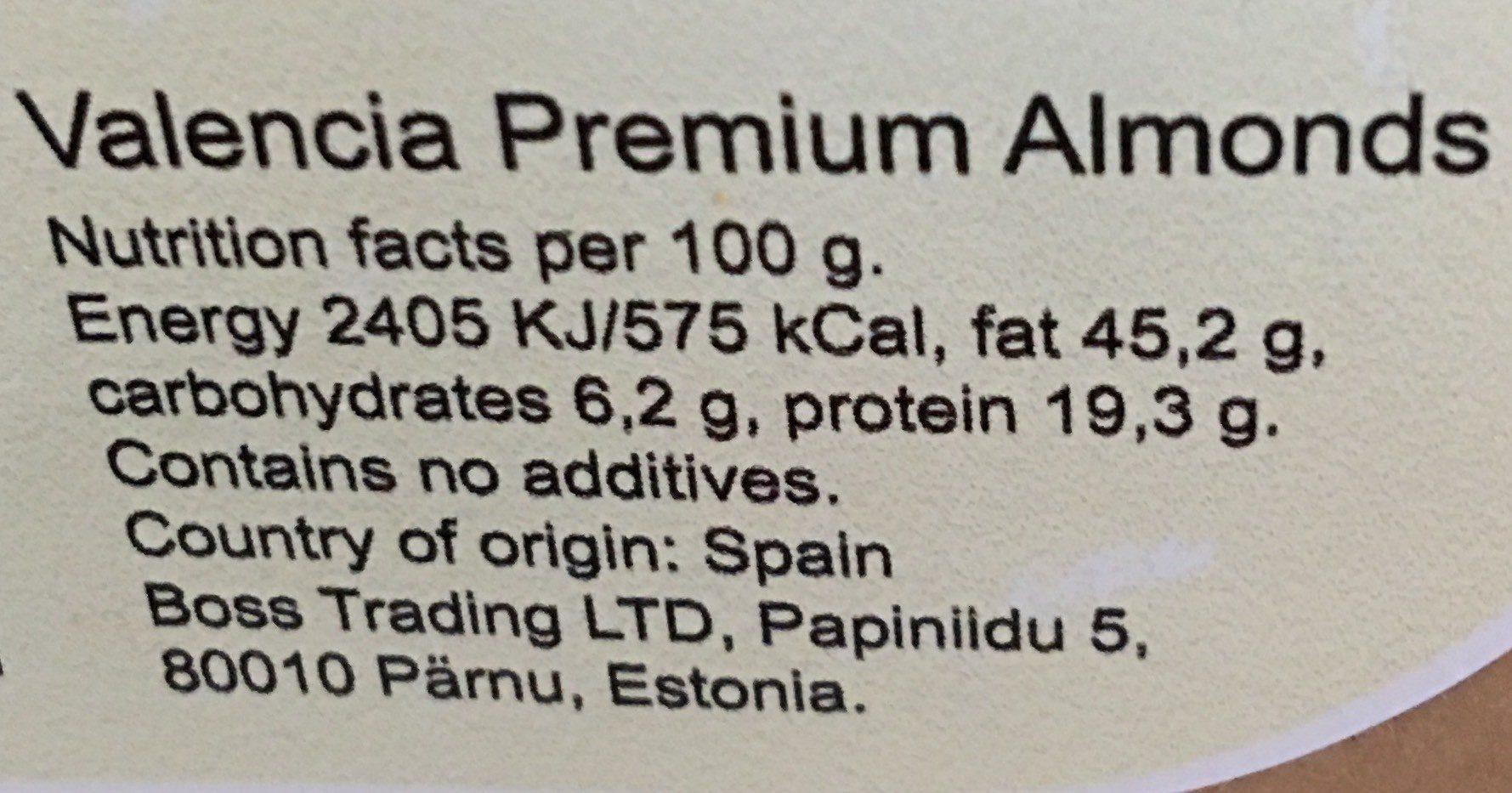 Amandes - Informations nutritionnelles