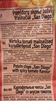 Potato chips «San Diego» with spicy tomate flavour - Ingrédients - fr