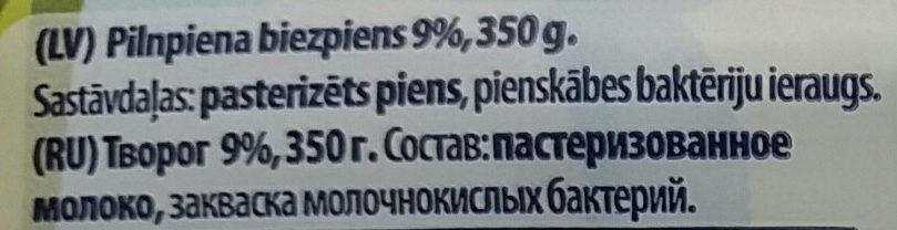 9% pilnpiena biezpiens - Ingredienti - lv