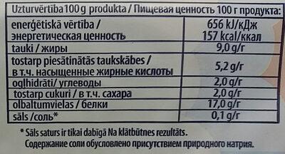 9% pilnpiena biezpiens - Valori nutrizionali - lv