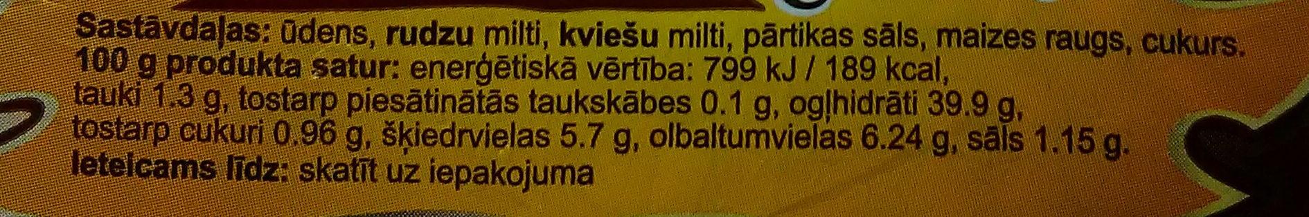 Formas rupjmaize Darņica Kurzemnieku, griezta - Ingredienti - lv