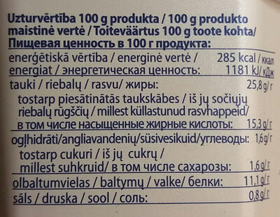 Kausētais siers ar šķiņi - Informations nutritionnelles - lv