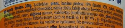 Jogurts Banānu ar bifido baktērijām - Ingredienti - lv