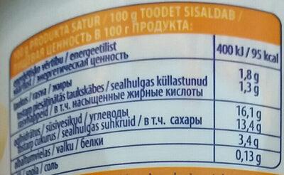 Jogurts Banānu ar bifido baktērijām - Valori nutrizionali - lv
