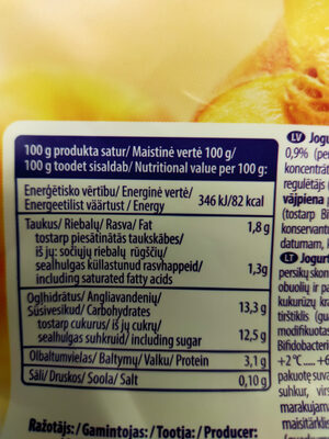 Oga Jogurts - Valori nutrizionali - lv