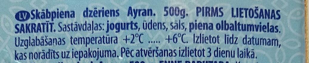 Skābpiena dzēriens turku Ayran - Ingredients - lv