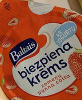 Biezpiena jogurta krēms ar zemenēm un panna cotta garšu - Product - lv