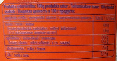 Biezpiena jogurta krēms ar zemenēm un panna cotta garšu - Nutrition facts - lv