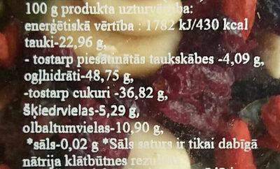 Žāvētu augļu, riekstu un sēkliņu maisījums Fitness - Voedingswaarden - lv