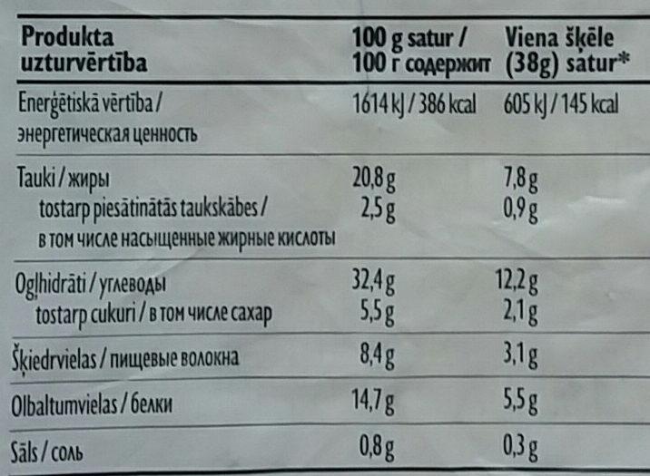 Rudzu doniņas Sēklu - Valori nutrizionali - lv