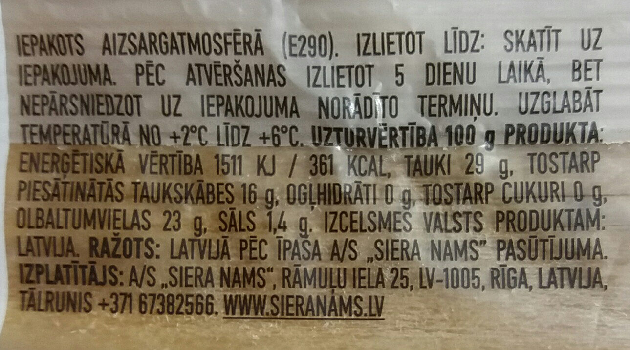 Čederas siers - Valori nutrizionali - lv