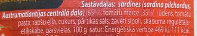 Sardīnes tomātu mērcē - Ingredients