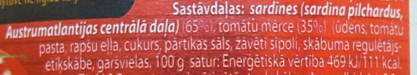 Sardīnes tomātu mērcē - Ingredients - lv