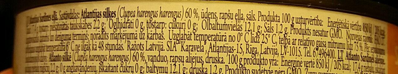 Atlantijas sardīnes eļļā - Nutrition facts - lv
