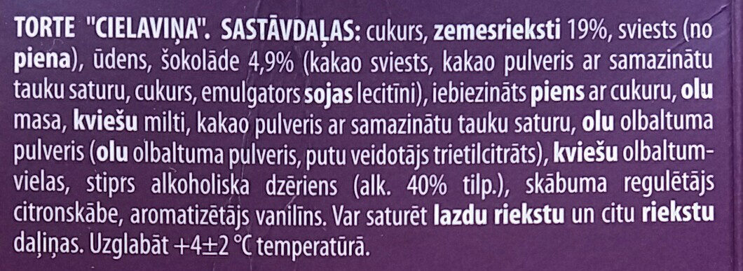 Torte Cielaviņa - Ingredienti - lv