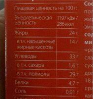 Chocolate RED - Пищевая и энергетическая ценность - en