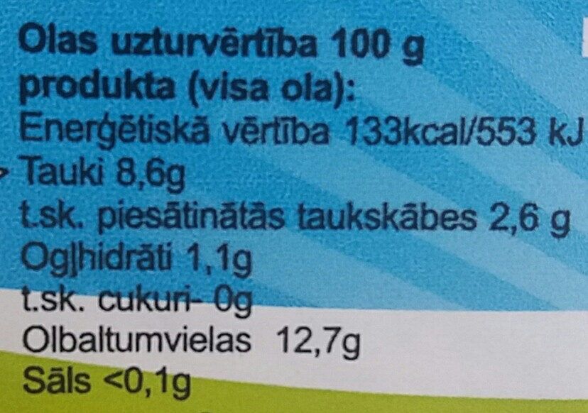 Brīvās turēšanas lauku vistu olas, A šķira, L izmērs, 10 gab. - Nutrition facts - lv
