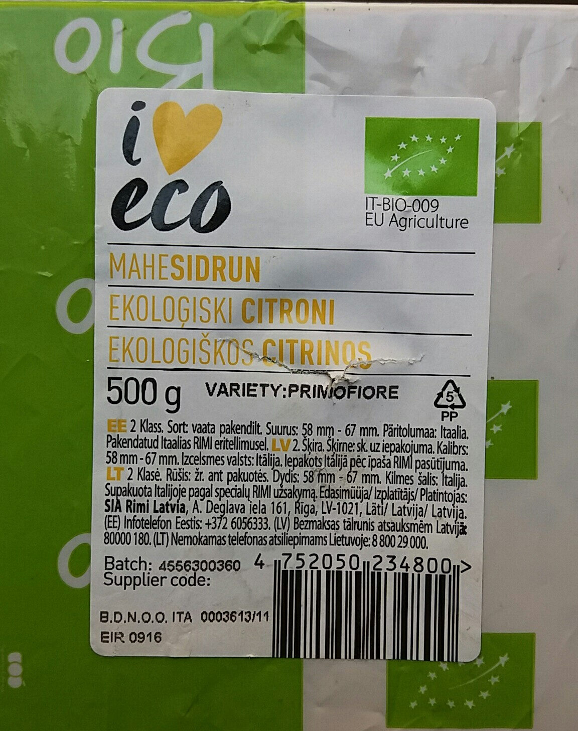 Ekoloģiski citroni Primofiore - Product - lv