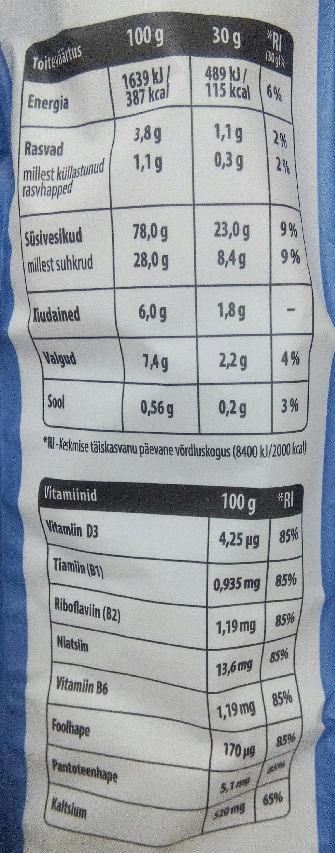 Sokolaadiga riis - Nutrition facts