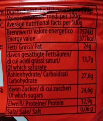 Glazed Curd Cheese Bar With Poppy Seeds - Nutrition facts - lt