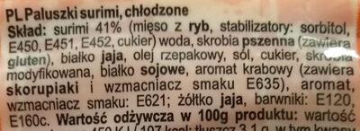 Surimi sticks - Ingrédients - pl