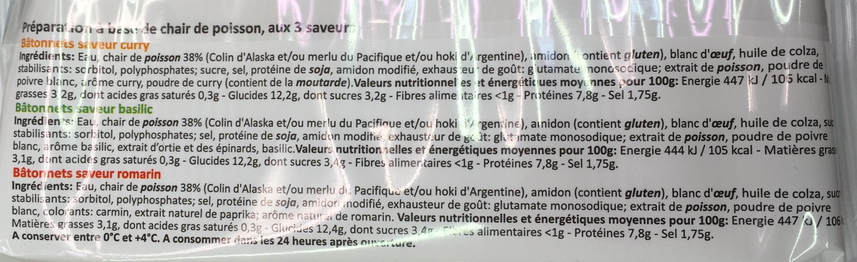 Bâtonnets aux 3 saveurs - Ingrédients