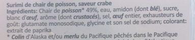 Fleur de Surimi saveur crabe - Ingrediënten - fr