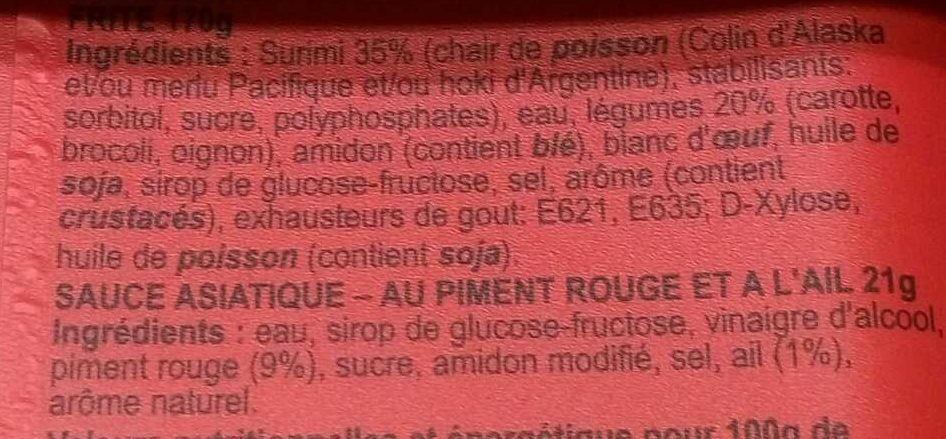 Fri' de Mer - Ingrédients