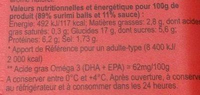 Fri' de Mer - Nutrition facts