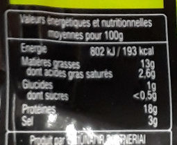 Saumon fumé bio atlantique - Nutrition facts