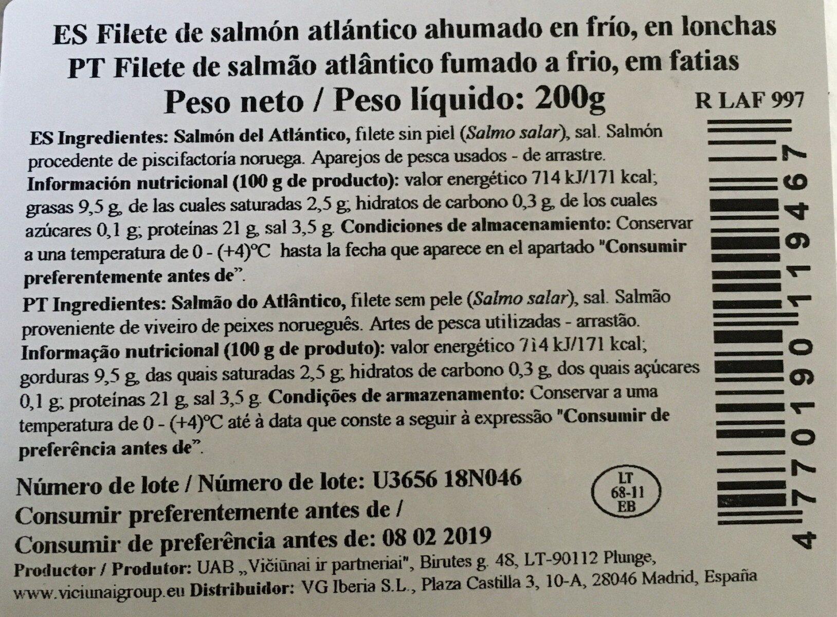 Salmón ahumado en lonchas - Nutrition facts