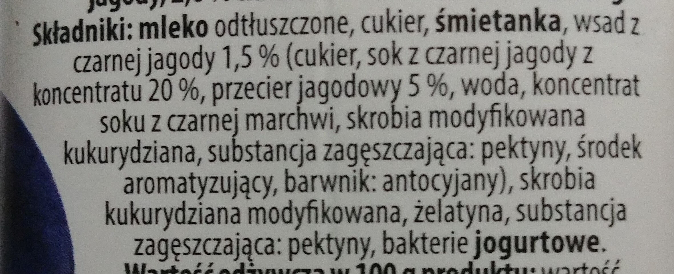 Jogurt pitny o smaku czarnej jagody 2% - Składniki - pl
