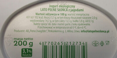Jogurt ekologiczny z jagodami - Nutrition facts