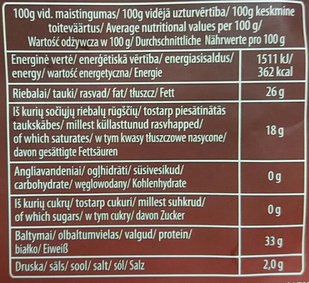 40% grated hard cheese Džiugas - Informations nutritionnelles - en
