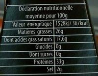 Dziugas 36 mois (26 % MG) - Nutrition facts