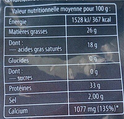 Fromage à pâte dure - Informations nutritionnelles - fr