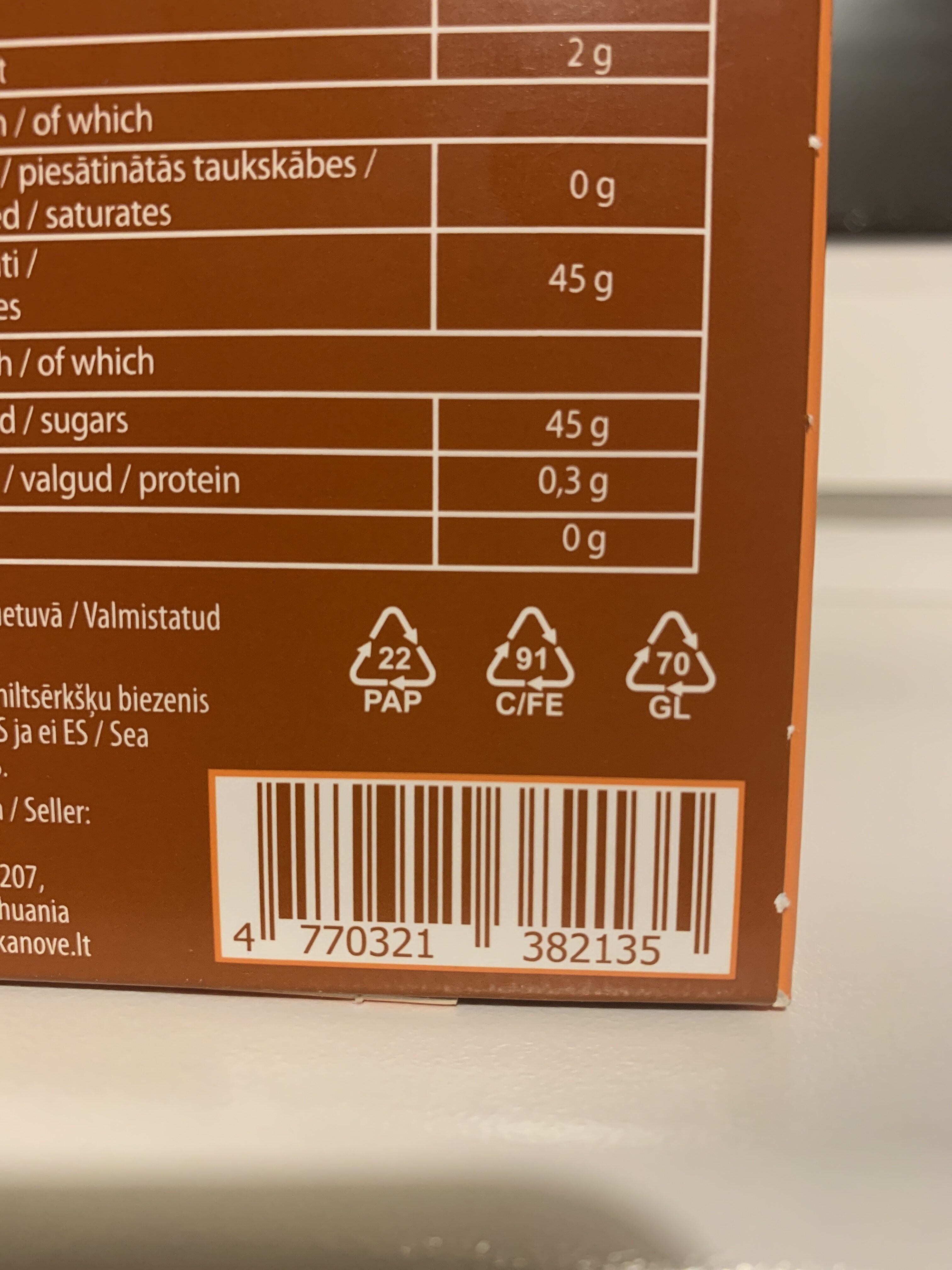 Sea buckthorn puree - Recycling instructions and/or packaging information - lt