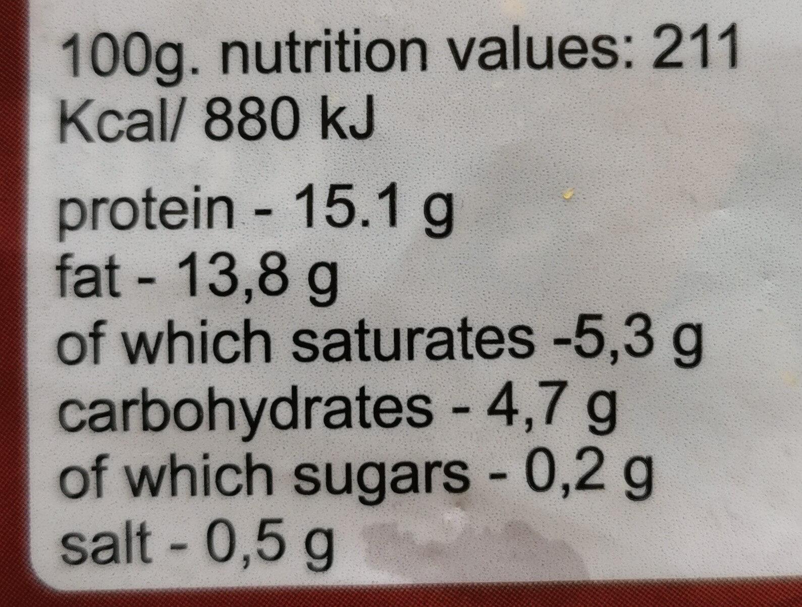 """Kepsnys """"Vesta"""" - Nutrition facts - en"""