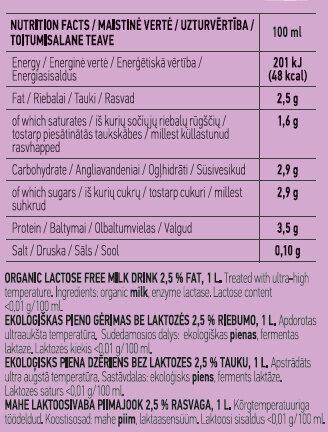 Organic Lactose Free Milk Drink - Nutrition facts - en